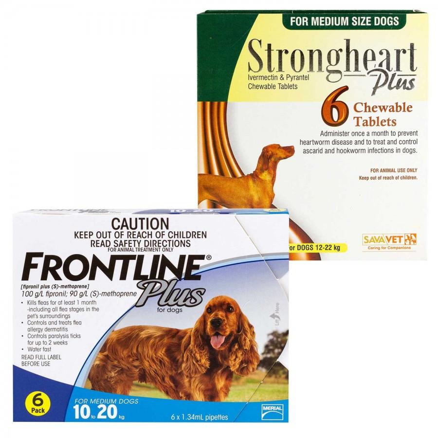 ストロングハートチュアブルとフロントラインプラス中型犬用
